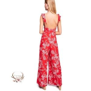 Free People Be the one Red Floral Jumpsuit NWT
